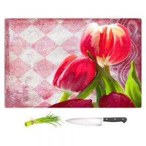 Artistic Kitchen Bar Cutting Boards | Tina Lavoie - Harlequin | Tulips Flowers Patterns Florals Vintage