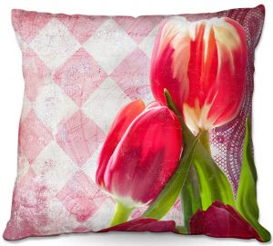 Decorative Outdoor Patio Pillow Cushion | Tina Lavoie - Harlequin | Tulips Flowers Patterns Florals Vintage