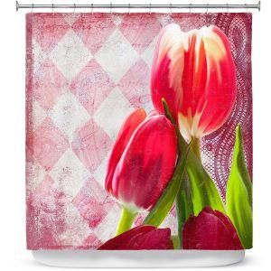 Premium Shower Curtains | Tina Lavoie - Harlequin | Tulips Flowers Patterns Florals Vintage
