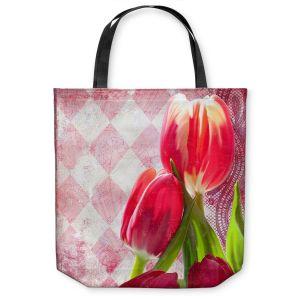 Unique Shoulder Bag Tote Bags | Tina Lavoie - Harlequin | Tulips Flowers Patterns Florals Vintage