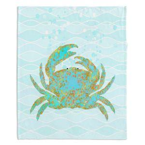 Artistic Sherpa Pile Blankets | Tina Lavoie - Kramer Crab | Ocean Nature Sealife
