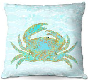 Decorative Outdoor Patio Pillow Cushion | Tina Lavoie - Kramer Crab | Ocean Nature Sealife