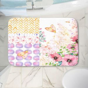 Decorative Bathroom Mats | Tina Lavoie - Lazy Summer 1 | Flower Pattern Insect Nature