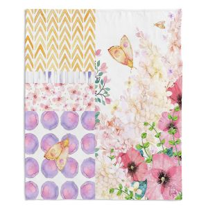 Artistic Sherpa Pile Blankets | Tina Lavoie - Lazy Summer 1 | Flower Pattern Insect Nature