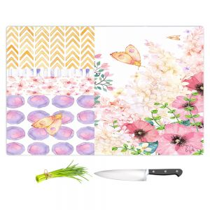 Artistic Kitchen Bar Cutting Boards | Tina Lavoie - Lazy Summer 1 | Flower Pattern Insect Nature