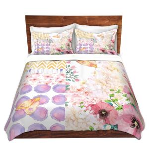 Artistic Duvet Covers and Shams Bedding | Tina Lavoie - Lazy Summer 1 | Flower Pattern Insect Nature