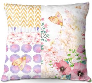 Decorative Outdoor Patio Pillow Cushion | Tina Lavoie - Lazy Summer 1 | Flower Pattern Insect Nature