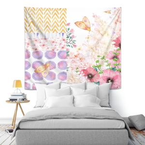 Artistic Wall Tapestry | Tina Lavoie - Lazy Summer 1 | Flower Pattern Insect Nature