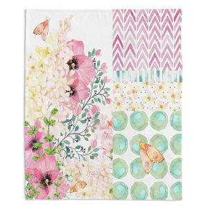 Decorative Fleece Throw Blankets | Tina Lavoie - Lazy Summer 2 | Flower Pattern Insect Nature