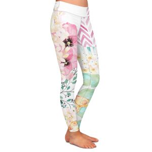 Casual Comfortable Leggings | Tina Lavoie - Lazy Summer 2 | Flower Pattern Insect Nature