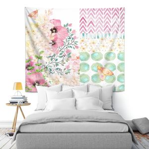 Artistic Wall Tapestry | Tina Lavoie - Lazy Summer 2 | Flower Pattern Insect Nature