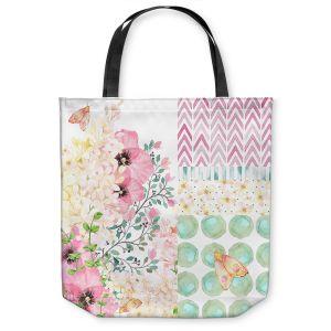 Unique Shoulder Bag Tote Bags | Tina Lavoie - Lazy Summer 2 | Flower Pattern Insect Nature