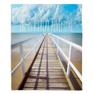 Decorative Fleece Throw Blankets | Tina Lavoie - Life is a Great Adventure | Beach Coast Dock Quote