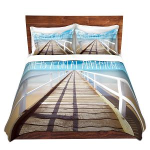 Artistic Duvet Covers and Shams Bedding | Tina Lavoie - Life is a Great Adventure | Beach Coast Dock Quote
