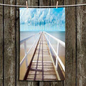 Unique Bathroom Towels | Tina Lavoie - Life is a Great Adventure | Beach Coast Dock Quote