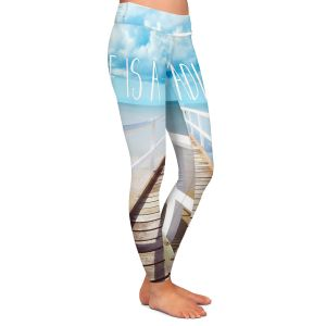 Casual Comfortable Leggings | Tina Lavoie - Life is a Great Adventure | Beach Coast Dock Quote