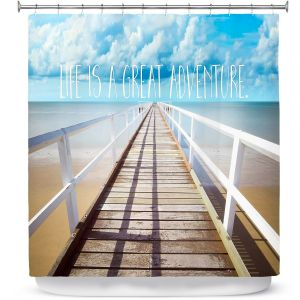 Premium Shower Curtains | Tina Lavoie - Life is a Great Adventure | Beach Coast Dock Quote