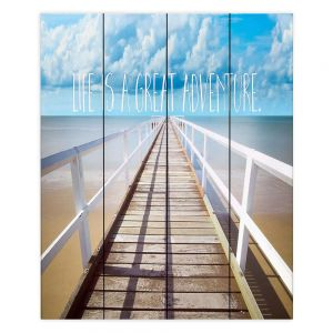 Decorative Wood Plank Wall Art | Tina Lavoie - Life is a Great Adventure | Beach Coast Dock Quote