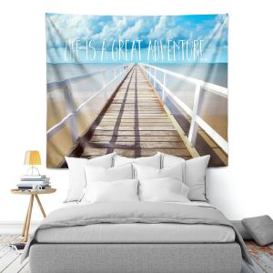 Artistic Wall Tapestry | Tina Lavoie - Life is a Great Adventure | Beach Coast Dock Quote