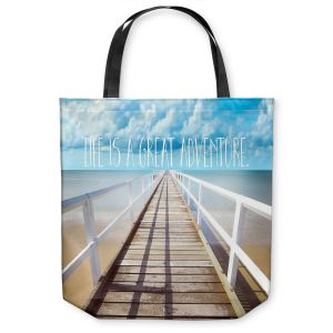 Unique Shoulder Bag Tote Bags | Tina Lavoie - Life is a Great Adventure | Beach Coast Dock Quote