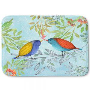 Decorative Bathroom Mats | Tina Lavoie - Morning Kiss | Birds Nature Trees Holidays