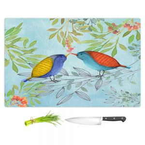 Artistic Kitchen Bar Cutting Boards | Tina Lavoie - Morning Kiss | Birds Nature Trees Holidays