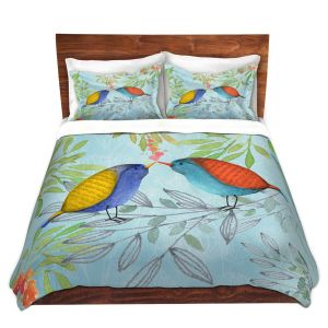 Artistic Duvet Covers and Shams Bedding | Tina Lavoie - Morning Kiss | Birds Nature Trees Holidays