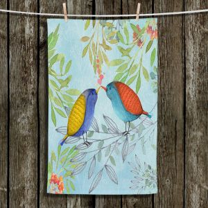 Unique Hanging Tea Towels | Tina Lavoie - Morning Kiss | Birds Nature Trees Holidays