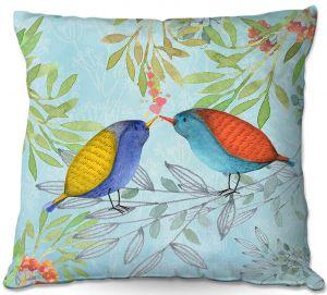 Decorative Outdoor Patio Pillow Cushion | Tina Lavoie - Morning Kiss | Birds Nature Trees Holidays