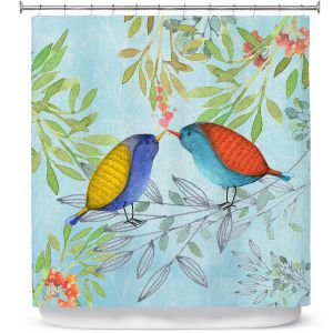 Premium Shower Curtains | Tina Lavoie - Morning Kiss | Birds Nature Trees Holidays