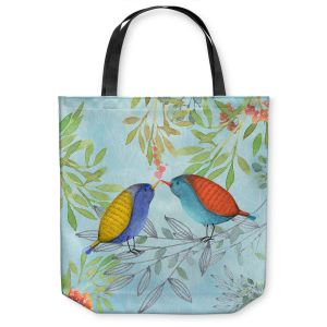 Unique Shoulder Bag Tote Bags | Tina Lavoie - Morning Kiss | Birds Nature Trees Holidays