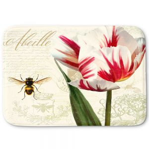 Decorative Bathroom Mats | Tina Lavoie - Natural History Sketch Book ll | Bees Floral Flowers Vintage Bugs
