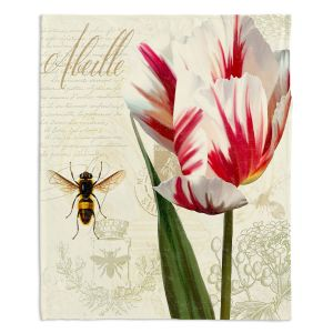 Artistic Sherpa Pile Blankets | Tina Lavoie - Natural History Sketch Book ll | Bees Floral Flowers Vintage Bugs