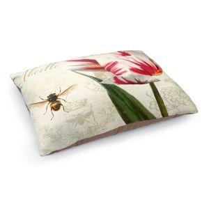 Decorative Dog Pet Beds | Tina Lavoie - Natural History Sketch Book ll | Bees Floral Flowers Vintage Bugs