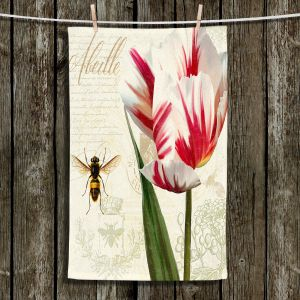 Unique Hanging Tea Towels | Tina Lavoie - Natural History Sketch Book ll | Bees Floral Flowers Vintage Bugs