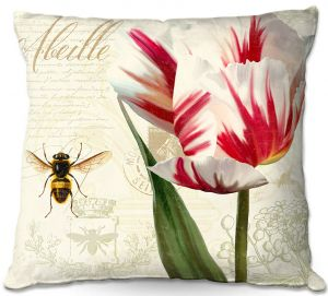 Decorative Outdoor Patio Pillow Cushion | Tina Lavoie - Natural History Sketch Book ll | Bees Floral Flowers Vintage Bugs