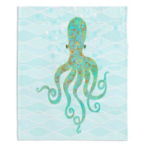 Decorative Fleece Throw Blankets | Tina Lavoie - Olivia Octopus | Ocean Nature Sealife