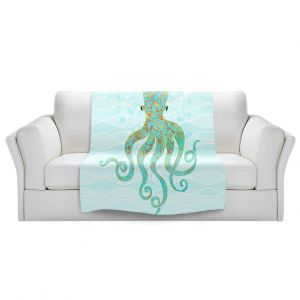 Artistic Sherpa Pile Blankets   Tina Lavoie - Olivia Octopus   Ocean Nature Sealife