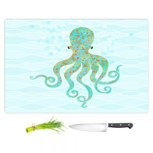 Artistic Kitchen Bar Cutting Boards | Tina Lavoie - Olivia Octopus | Ocean Nature Sealife