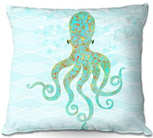 Decorative Outdoor Patio Pillow Cushion | Tina Lavoie - Olivia Octopus | Ocean Nature Sealife