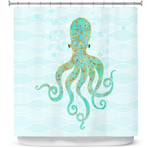 Premium Shower Curtains | Tina Lavoie - Olivia Octopus | Ocean Nature Sealife