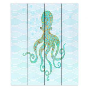 Decorative Wood Plank Wall Art   Tina Lavoie - Olivia Octopus   Ocean Nature Sealife
