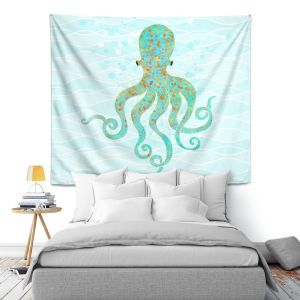 Artistic Wall Tapestry | Tina Lavoie - Olivia Octopus | Ocean Nature Sealife