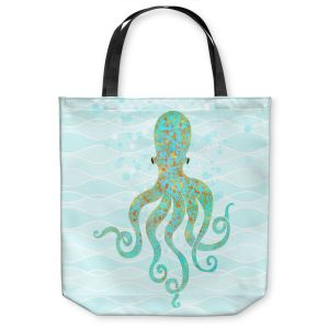 Unique Shoulder Bag Tote Bags | Tina Lavoie - Olivia Octopus | Ocean Nature Sealife