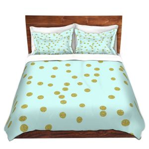 Artistic Duvet Covers and Shams Bedding | Tina Lavoie - Pale Aqua Gold Round Confetti | Simple Pattern Dots Spots