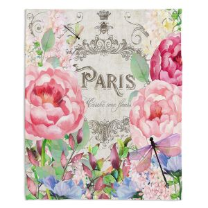 Decorative Fleece Throw Blankets | Tina Lavoie - Paris Flower Market 1 | France Floral