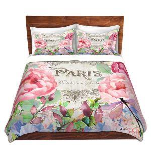 Artistic Duvet Covers and Shams Bedding | Tina Lavoie - Paris Flower Market 1 | France Floral