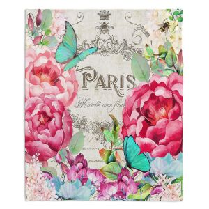 Decorative Fleece Throw Blankets | Tina Lavoie - Paris Flower Market 2 | France Floral
