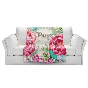 Artistic Sherpa Pile Blankets | Tina Lavoie - Paris Flower Market 2 | France Floral