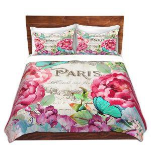 Artistic Duvet Covers and Shams Bedding   Tina Lavoie - Paris Flower Market 2   France Floral